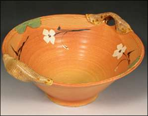 Autumn Colored Bowl With Wrapped Handles