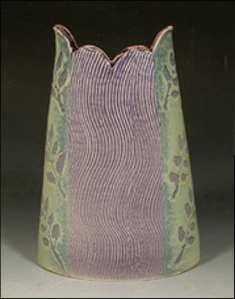 Brocade Textured Vase With Scalloped Rim