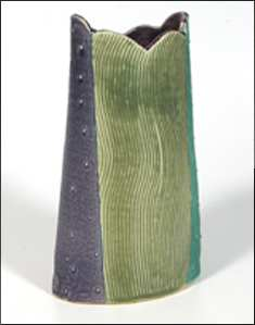 Purple & Green Stoneware Vase With Scalloped Rim
